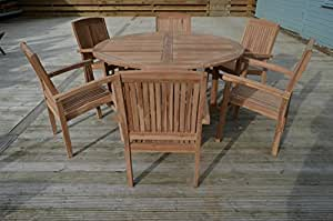 Ambleside 6 Personen, zusammenklappbar, aus Teakholz, 1,5 m, 5 m, rund, mit festen Armchair