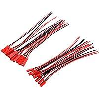 SODIAL(R)10 pares 150mm JST Linea del cable de clavija del conector macho + hembra para Bateria Lipo BEC RC