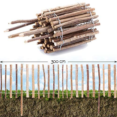 BooGardi Roll-Steckzaun Haselnuss · Staketenzaun als Beeteinfassung zur Einzäunung und Abgrenzung