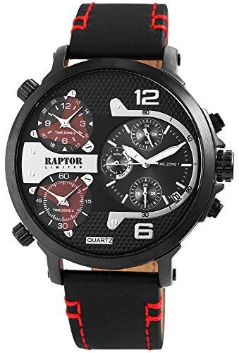 Raptor Limited Herren-Uhr Analog Quarz 3 Zeitzonen Oberseite Echtleder RA20130