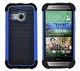 G-Shield Hülle für HTC Mini 2 Stoßfest Schutzhülle Silikon Hybrid Armor Handyhülle mit Displayschutzfolie und Stylus - Blau