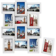 SONGMICS Marcos de fotos 12 fotos (10 x 15 cm) + 1 x Marco de foto MDF blanco RPF112W