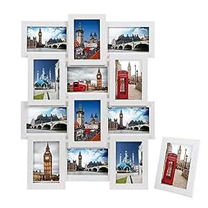SONGMICS Cornice Foto 10x15 cm, Cornici Foto Collage da Montare con 12 Posti di Foto e Un Portafoto Singolo da Tavolo, MDF Bianco RPF112W