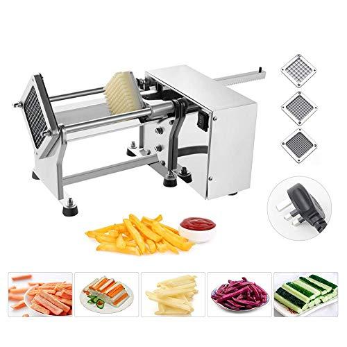 YUNSHINE Elektrische Kartoffelschneider-Gemüsechacht-Chopper Veggie Fruit Dicer Fries Chopper Maschine mit 6mm/9mm/13mm Edelstahl-Bledes (220V)