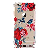 iPhone 7 Case with flowers,iPhone 8 Case, LUOLNH Slim Shockproof Clear Floral Pattern Soft Flexible TPU Back Cover [4.7 inch] -Red Rose