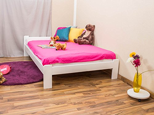 Kinderbett / Jugendbett Kiefer Vollholz massiv weiß lackiert A8, inkl. Lattenrost - Abmessungen: 120 x 200 cm -