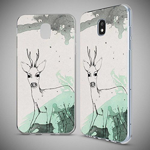 Samsung Galaxy J7 2017 (EU-Model) Case Phone Cover by NICA, Thin Silicone Pattern Back Protector Soft Skin, Crystal Clear Gel Shockproof Bumper, Slim Transparent Protective, Designs:Mandala Blue Cyan Deer