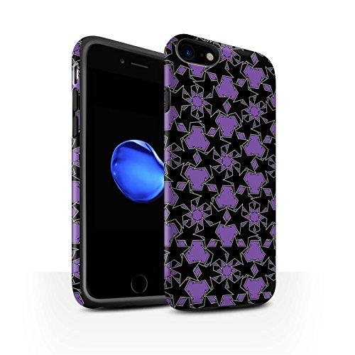 STUFF4 Matte Harten Stoßfest Hülle / Case für Apple iPhone 8 / Orange Muster Muster / Zerstreute Sterne Kollektion Violettes Muster