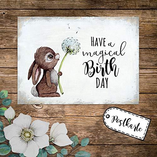 ilka parey wandtattoo-welt A6 Geburtstagskarte Postkarte Geburtstag Print Hase Häschen Pusteblume mit Spruch Have a Magical Birthday pk235 - ausgewählte Menge: *1 Stück*