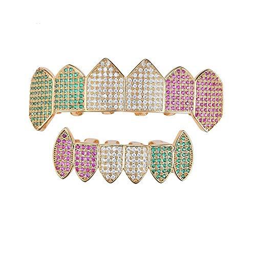 Multi-color Teeth Grill Sets Micro-Intarsien Zirkon Hip-Hop Zähne Grillz Caps Modeschmuck Umweltfreundlich Kupfer vergoldet Gold für Männer/Frauen Geschenke