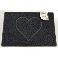 HEART Embossed Shape Door Mat Dirt-Trapper Jet-Washable Doormat-(Use Indoor or Sheltered Outdoor )- (60x40cm/23.6x15.7inches, Small) Black