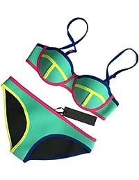 MUXILOVE Damen Helle Farbe Bademode Neopren Badeanzug Neoprene Push Up Bikini Set