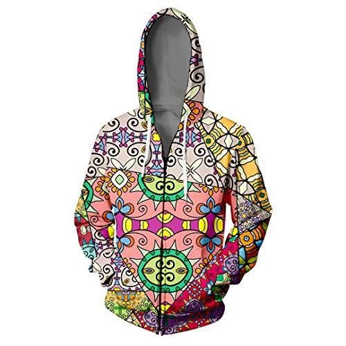 Geometrische Reißverschluss Hip Hop Personalisieren Blume Splice 3D Reißverschluss Sweatshirt Harajuku Reißverschluss Sweatshirts Kleidung V01232 Xs -