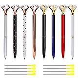 Penne a Sfera Diamantata Oro Penne in Metallo Cristallo Penna a Sfera Inchiostro Nero con 8 Ricariche per Forniture Eleganti per Ufficio 8 Pezzi