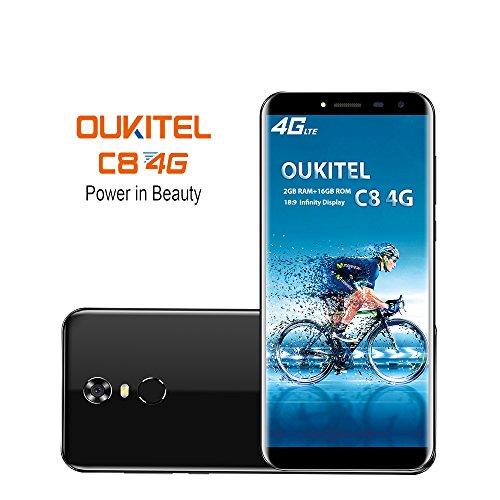 OUKITEL C8 4G Smartphone (5.5 Zoll 18:9 Verhältnis Vollbild) 3000mAh Android 7.0 Quad-Core 2GB RAM+16GB ROM 13MP+5MP Dual Kamera Dual SIM Handy Ohne Vertrag (Schwarz)