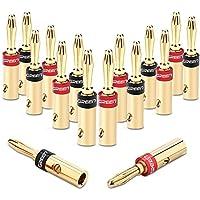 UGREEN Cable de Altavoz de Conectores Banana, Cable Tornillo Enchufes Conectores 4 mm chapados en Oro de 24 K (8 Pares)