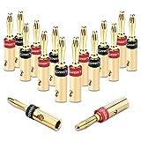 UGREEN Bananenstecker Lautsprecher Bananen Stecker für 5.3mm²Bananen Kabel mit 24k vergoldet Schwarz und rot 16Stücks
