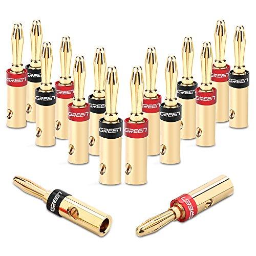 UGREEN Bananenstecker Lautsprecher Bananen Stecker für 5.3mm²Bananen Kabel mit 24k vergoldet Schwarz und rot 16Stücks (Bananen-stecker-receiver)