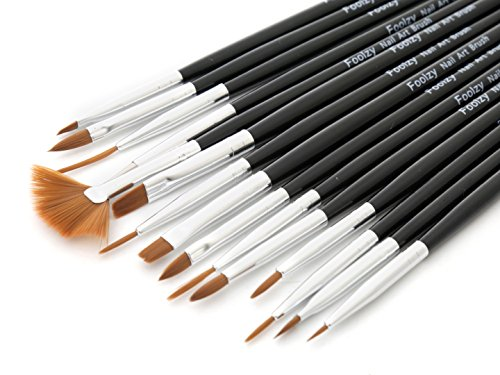 Foolzy FOO-NA-A4 Nail Art Painting Pen Brush (15 Pieces)