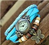 a-goo Vintage reloj tejido a mano mariposa reloj de pulsera, azul claro