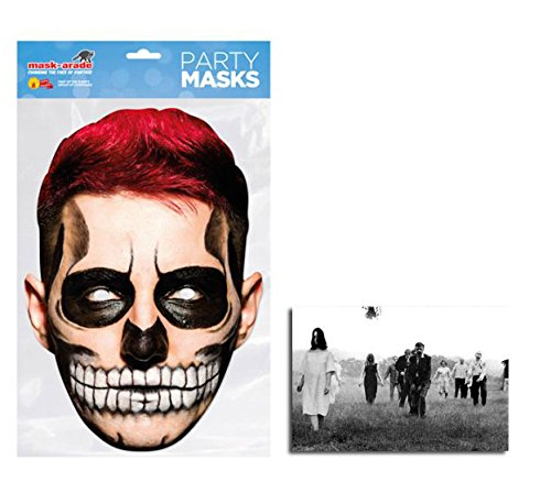 Day of the Dead Red Zombie Männlich Single Karte Partei Gesichtsmasken (Maske) Enthält 6X4 (15X10Cm) starfoto