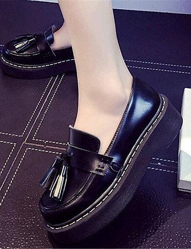 ShangYi gyht Scarpe Donna-Mocassini-Tempo libero / Casual-Comoda-Plateau-Finta pelle-Nero Black