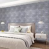 5 Stücke 3D Ziegelstein Tapete Brick Pattern Wallpaper Wandtattoo Abnehmbare Selbstklebend Imitation Wandaufkleber, Dekor für Wohnzimmer, Schlafzimmer, Kinderzimmer, Badezimmer oder Küche 60cmx60cmx5mm Grau