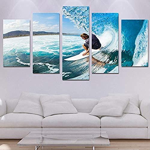 Tkuri Wandkunst 5 Stück Leinwand Kunst Leinwanddruck Kunstwerk Galerie Meerblick Schlafzimmer Wandbild Wohnzimmer Schlafzimmer Home Poster Mann Meer Surfen-Y3Frame (Galerie Surfen)