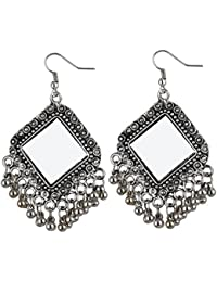 Cardinal Mirror Oxidised Silver Color Latest Design Traditional Earing for Women/Girls