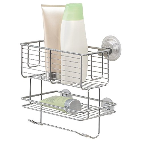 mDesign 2-Tier Bathroom Shower Suction Caddy Organizer, Storage for Shampoo, Conditioner, Soap - Silver