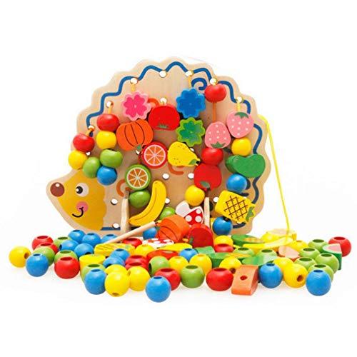 L Y Kinder Spielzeug Igel Holz Tier Obst Perlen Geometrische Runde Perlen Früherziehung Threading Stringing Puzzle-Spiel,Ein (Holz-threading)