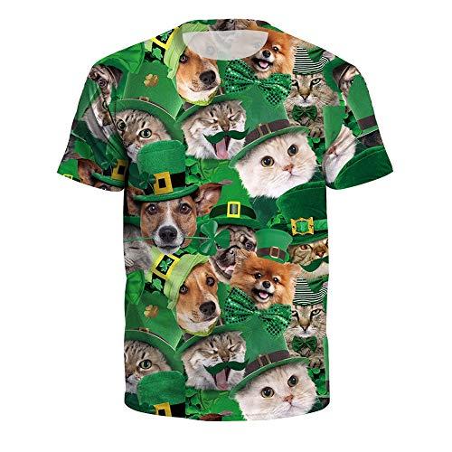 MOIMK Unisex 3D St.Patrick es Day Irish Green Animal Elf Printed Short Sleeve T-Shirt,M