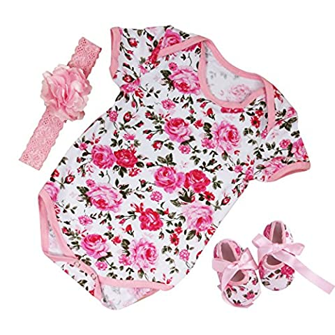 Puseky Neugeborene Baby Mädchen Spielanzug Bodysuit + Schuhe + Stirnband