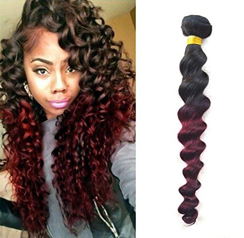 Greemeo rouge Ombre brésiliens Loose Wave Curl vierges Tissage Extensions de Cheveux Humains Naturels Black À Bourgogne deux couleurs de tonalité - 100% Remy Hair 100g/pièce 1pc/lot (16\\