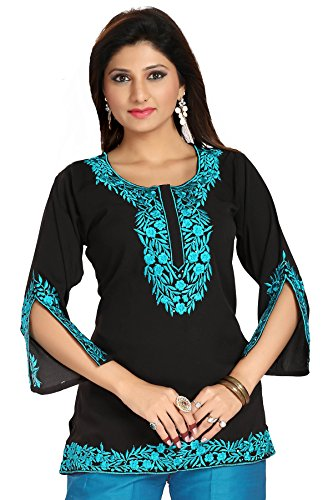 Meher Impex Black Crepe Short Embroidered Kurti with stylish 3/4th Sleeves