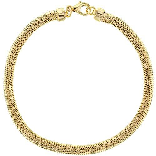 In Season Jewelry Frauen - Armband Kette Klassische Dicke Flache Schlange Mesh 18k Vergoldet 18cm