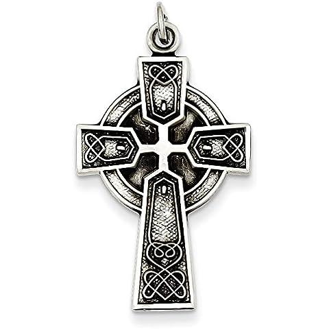 Sterling Argento Anticato Raso Irlandese Croce Ciondolo