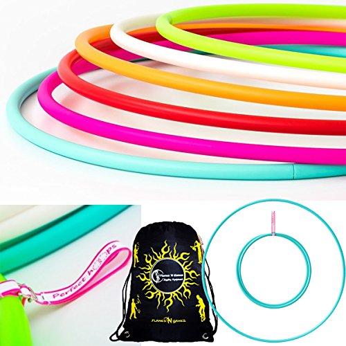 Spielen PERFEKT Nackt Hula-Hoops + Tasche. Gewichtete Reise Hula-Hoop (100cm / 39 ') Hula Hoops für Sport, Tanz & Fitness! (350g) KEINE Anweisungen benötigt - Versand am selben Tag! (Türkis, 16mm)