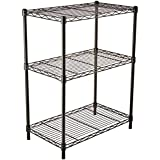 AmazonBasics Height Adjustable 3-Shelves Heavy Duty Rack - Black