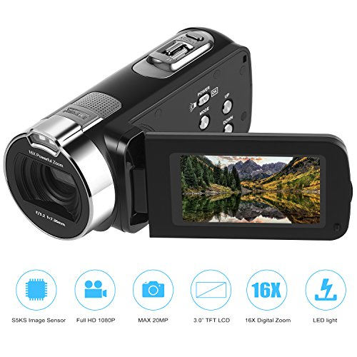 Camera Camcorder Full HD 1920 x 1080P 3.0inch 24M Portable Anti-shake Digital Video Camcorder, Touch Screen, 270 Degree Rotation, DV Digital Cameras