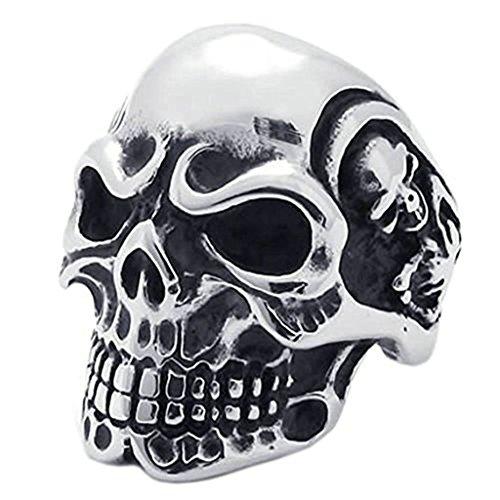 Daesar Biker Herrenring Edelstahl Gotik Totenkopf Schädel Schwarz Silber Ringe 31MM Größe:67 (Paare Medusa Kostüme)