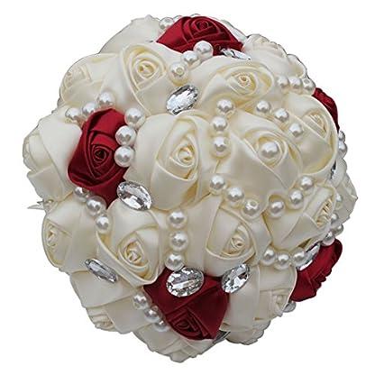 Fouriding Ramo de Boda Nupcial Cinta Hecha a Mano de Satén Rosa Perlas Cristales Decoración Para el Hogar de Boda