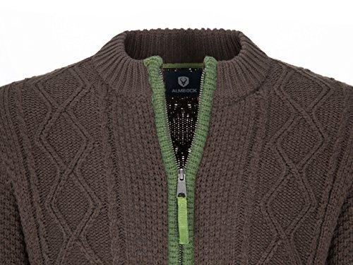 Almbock Strickjacke Tracht Braun | Strickjacke XL mit Reißverschluss | Herren Trachten Jacke in Braun Größe XL - 5