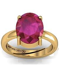 Jaipurforyou 6.50Ct. 7.25Ratti Natural Certified Ruby (Manik/Manak) British ADJUSTABLE Panchdhatu Ring for Men