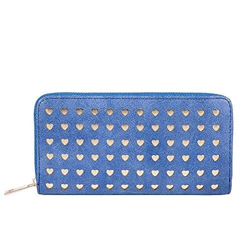 blaue Mode Reißverschluss um Geldbörse/Hollow Heart-shaped PU Leder Damen Geldbörse-blau