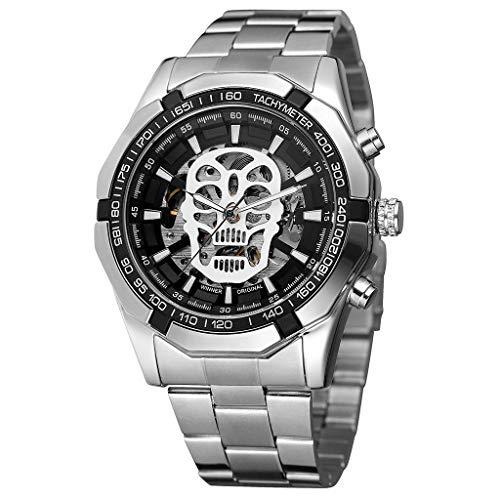 REALIKE Herren Mechanische Uhr,Metallband Hohl Teufel Outdoor Laufen wasserdichte militärische Uhren, Retro große Anzeige Sportuhr mit für Männer Cool Sport Erwachsene Smart Watch