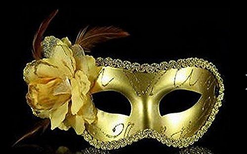 Golden Flower Maske - Landsell Party Maske, sexy, Spitze, Schwarz,