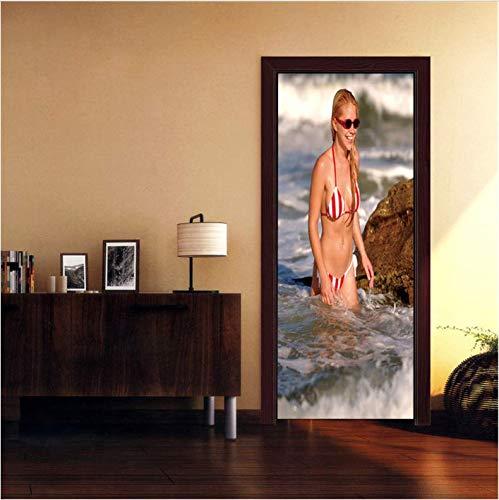ksufnjerls Badeanzug Weibliche Tür Aufkleber PVC Selbstklebende Tapete wasserdichte Dekoration DIY Wandtattoo Poster 95X215cm