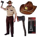 SHERIFF KOSTÜM 3 MAL ANDERS =SIE HABEN DIE WAHL ZWISCHEN = NUR DAS SHERIFF KOSTÜM OHNE HUT UND OHNE ZUBEHÖR = ODER SIE WÄHLEN DAS SHERIFF KOSTÜM MIT EINEM BRAUNEN COWBOY ÄHNLICHEN HUT MIT SHERIFF STERN UND EINER PLASTIK AXT = ODER = DEN ZOMBIE JÄGER SHERIFF MIT ALLEN EXTRAS -HUT -KOSTÜM -BLUT-PLASTIK = ALLE KOSTÜME SIND ERHALTBAR IN 4 VERSCHIEDENEN GRÖSSEN//VERKAUFT VON -ILOVEFANCYDRESS® /// DAS KOSTÜM MIT HUT UND AXT UND BLUT -IN DER GRÖSSE - XL - 56/58