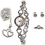 Coffret Cadeaux Coeur Miroir Femme Montre+Bague+Boucle d'oreilles Strass+Collier Pierre-cedric